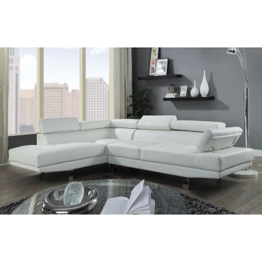 Artem White Leather Modern Sectional