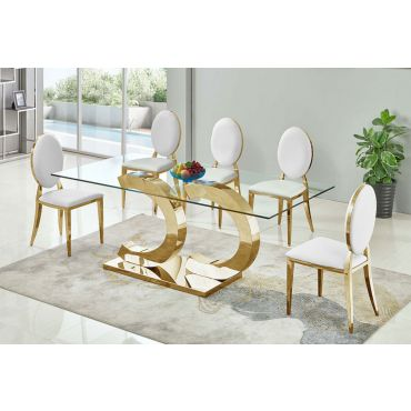 Atmore Gold Finish Glass Top Dining Table