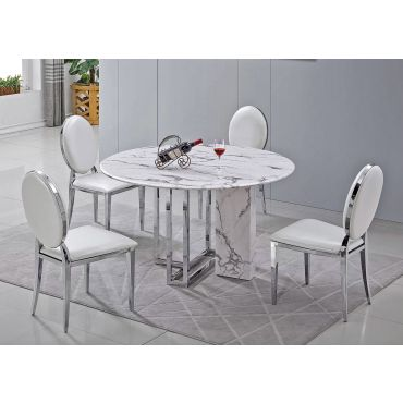 Atmore Round Marble Dining Table