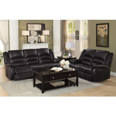 Aubrey Dual Recliner Sofa Espresso Leather