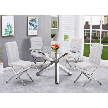 Axis Round Glass Dining Table Set