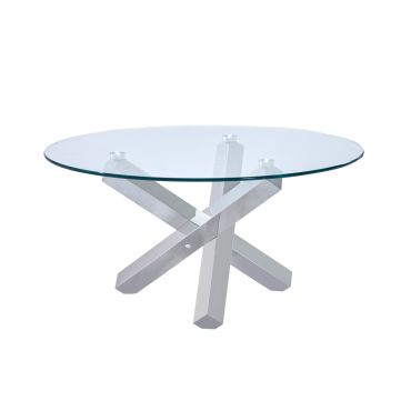 Axis Round Glass Coffee Table Chrome Base