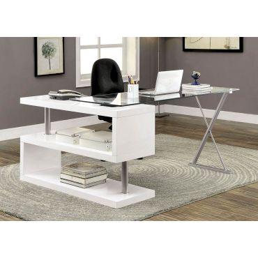Baden White Lacquer Swivel Desk