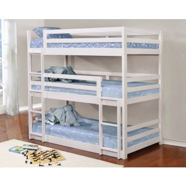 Baligio White Triple Twin Bunkbed