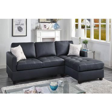 Baltimore Black Leather Sectional