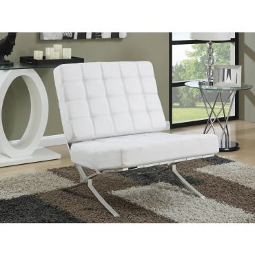 Barcelona White Leather Accent Chair