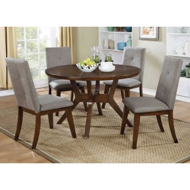 Bardolf Round Table Set Walnut Finish