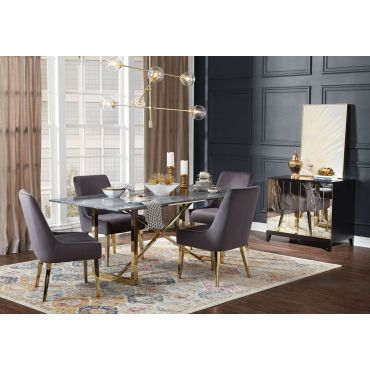 Baristo Marble Top Dining Table Gold Base