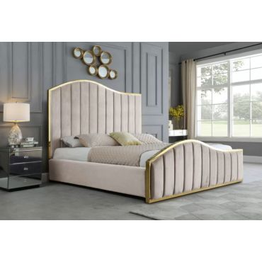 Barletta Beige Velvet Bed With Gold Trim