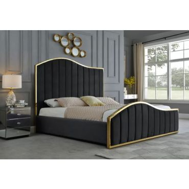 Barletta Black Velvet Bed With Gold Frame
