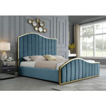Barletta Teal Velvet Bed Gold Frame