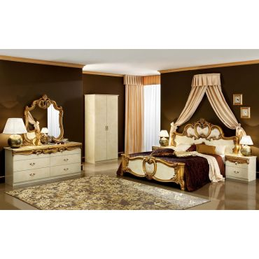 Barocco Ivory and Gold Bedroom Set