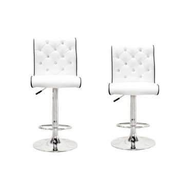 Barry Crystal Tufted White Barstool Set of 2