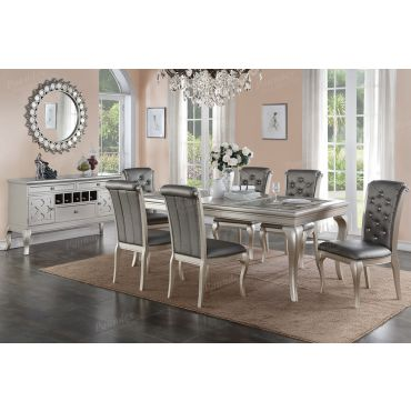Barzini Silver Finish Dining Room Table Set
