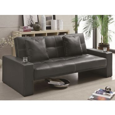Bayner Modern Black Leather Sofa Bed