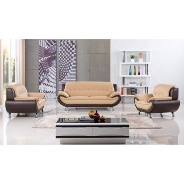 Beca Red and Black Leather Sofa Set