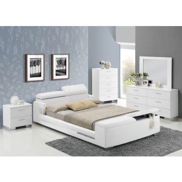 Beckett Modern Leather Bed With Storage