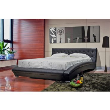 Belaire Modern Black Leather Platform Bed