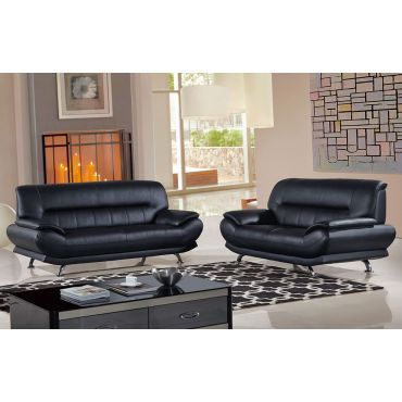 Bella Black Genuine Leather Modern Sofa