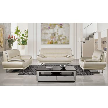 Bella Ivory Leather Living Room Set
