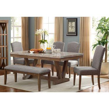 Bellegarde Marble Top Dining Table Set