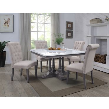 Belleview Square Marble Top Dining Table Set