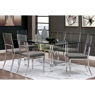 Bellini Modern Glass Top Acrylic Dining Table