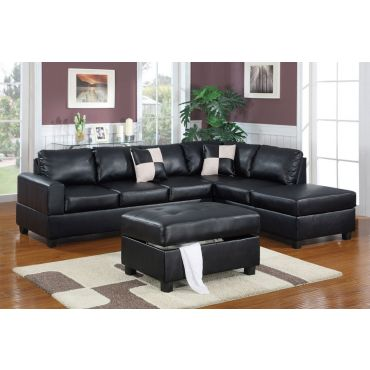 Belmont Black Leather Sectional With Ottoman,Belmont Black Sectional Opposite Side