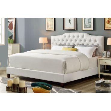 Benet White Leather Platform Bed