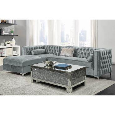 Benett Modern Sectional Silver Velvet