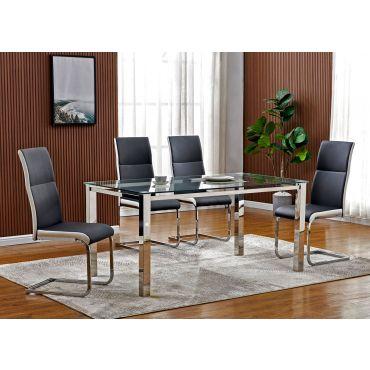 Bergman Glass Top Modern Dining Table