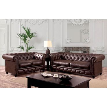 Bernadette Brown Leather Chesterfield Sofa
