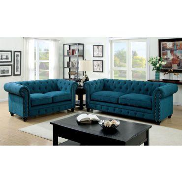 Bernadette Blue Fabric Tufted Sofa