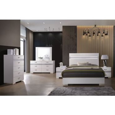Bianca White Lacquer Modern Bed
