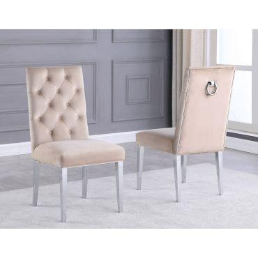 Bina Beige Velvet Chairs