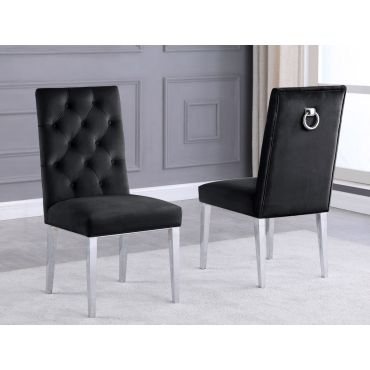 Bina Black Velvet Dining Chairs