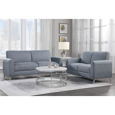 Bine Light Blue Fabric Living Room