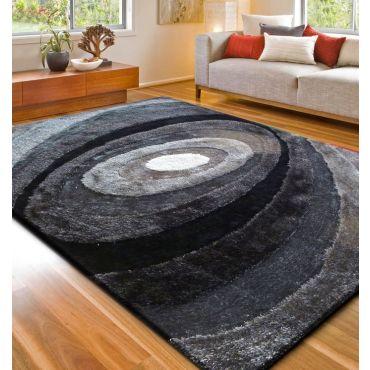 Black and Grey Shag Area Rug 105