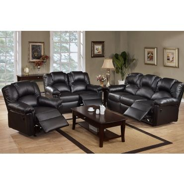 Reed Black Leather Recliner Sofa