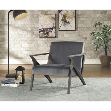 Bonjour Grey Velvet Accent Chair