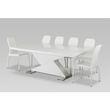 Bono White Lacquer Dining Table