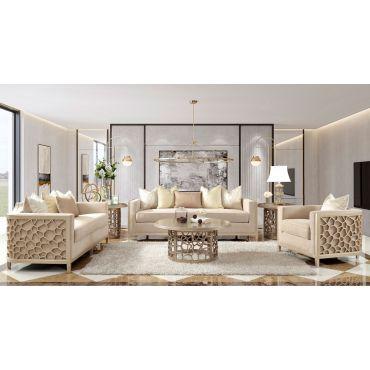 Bordeux Champagne Finish Living Room