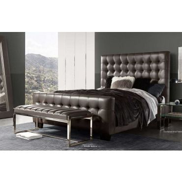 Bourdon Tufted Leather Bed
