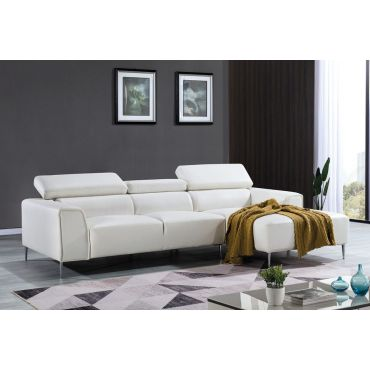Bourlette White Leather Modern Sectional
