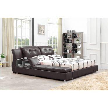Bovina Dark Brown Leather Modern Bed