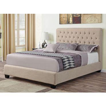 Boxton Oatmeal Fabric Bed Tufted Headboard