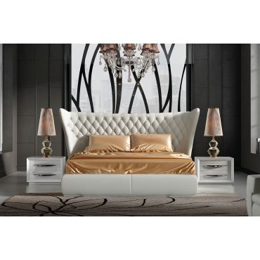 Brently Winged Modern Bed Tufted Leather