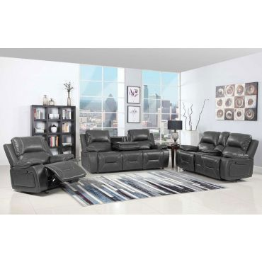 Brett Gray Leather Recliner Sofa