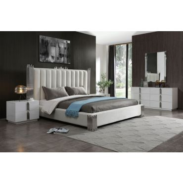 Brigham White Leather Modern Bed