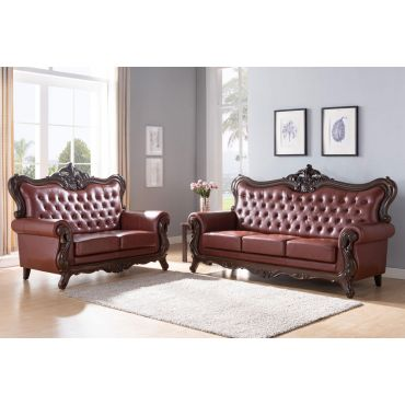 Broadway Brown Leather Traditional Sofa